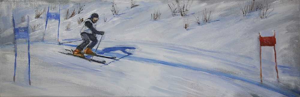 Racing in Wengen - oil on cotton duck 31 x 91 cm / 4 months to finish