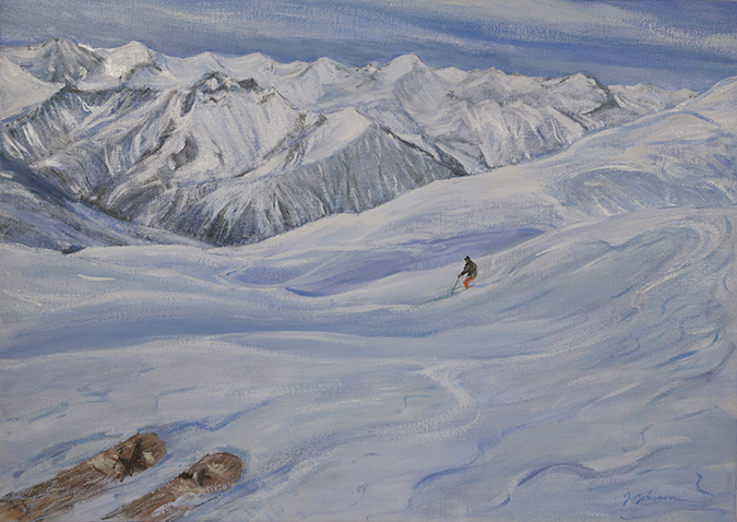 st martin ski powder skiing alpine painting