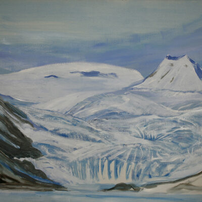 Progress started in December 2019 / Unsurveyed Glacier in Svalbard , Near Pyramide - oil on canvas 76 x 101 cm (30 x 40 inches)