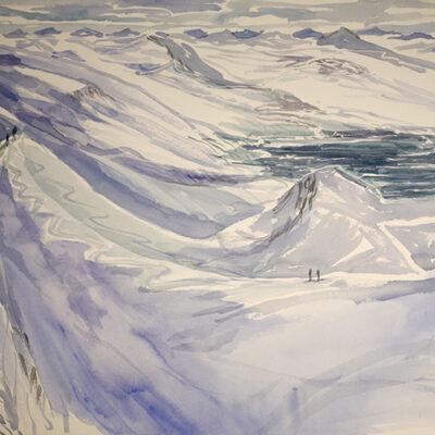 Ski Tour above Gronfjord - Spitsbergen Svalbard - watercolour on High White Saunders paper 55 x 73 cm