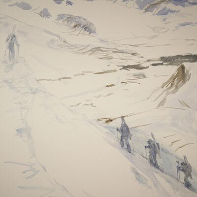 Ski Tour above Gronfjord - Spitsbergen Svalbard - watercolour on Saunders paper 73 x 55 cm