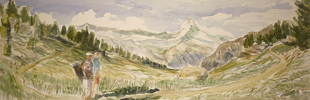 zermatt matterhorn hiking watercolour alpine painting