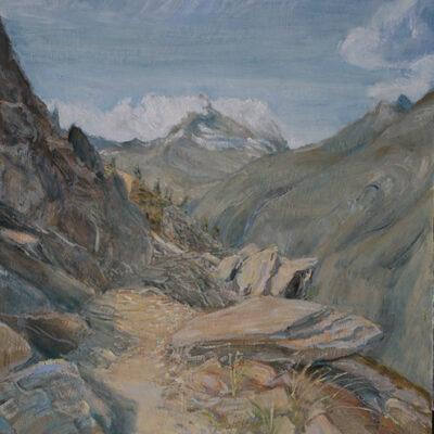 Path to Zermatt - oil on hardboard 81 x 61 cm (32 x 24inches )