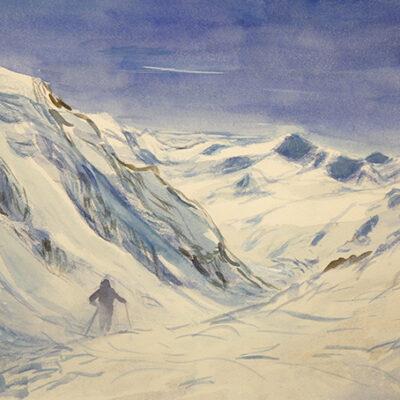 ortles mounains italian alps watercolour painting