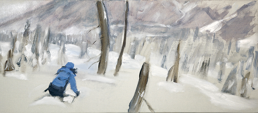 Skiing the Powder on the Burn in the Monashee Moutains of Canada - oil on canvas 30 x 71 cm (12 x 28 inches) £575 unframed