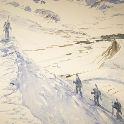 Ski Tour above Gronfjord - Spitsbergen Svalbard - watercolour on Saunders paper 73 x 55 cm - second state