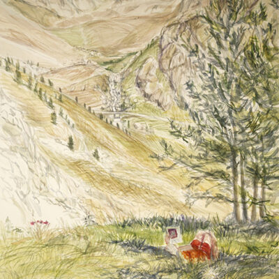 val maurin summer italy val maira watercolour alps