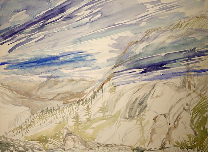 col du soleglio Bue val maira summer alps painting