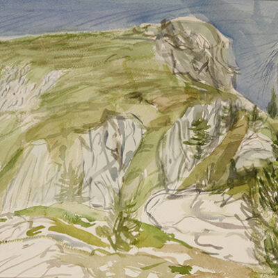 Cima Soleglio Bue 2413 m Val Maira - plein air watercolour on paper 27 x 55 cm ( 10.5 x 29.5 inches) £275