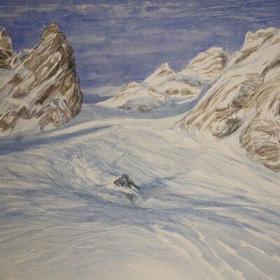 Grand Couloir Courchevel - watercolour on paper 55x 75 cm ( 21.5 x 29.5 inches)