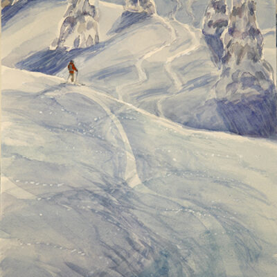 Swooping turns in Berner Oberland - watercolour on paper - 59 x 33 cm (23.5 x 13 inches ) £375