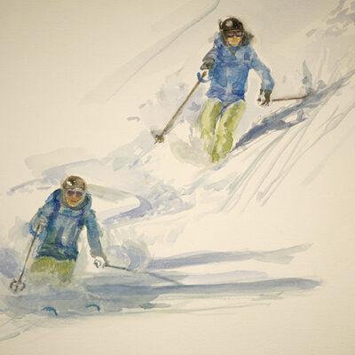 skiing alpine apinting powder watercolour