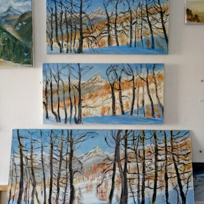 Three versions of Sunlight on the Larches Val Maira in oil