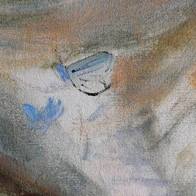 Blue butterfly cloud sketchedd in