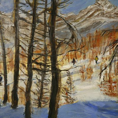 Three young skiers added to a view of the Larches in Val Maira - just a hint of their ski clothing. Their proud father requested the addition as a momento of their first forays in powder. closeup of Oil on Hardboard . Overall size 46 x 91 cm ( 18 x 36 inches).