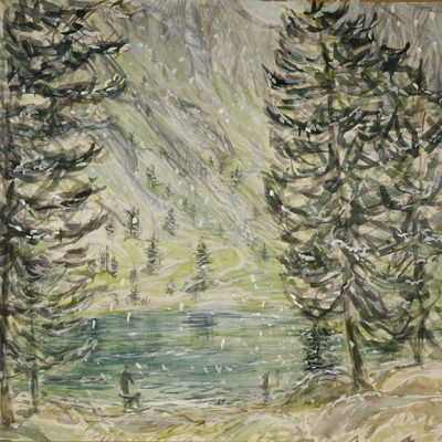 lago nero val maira alps painting