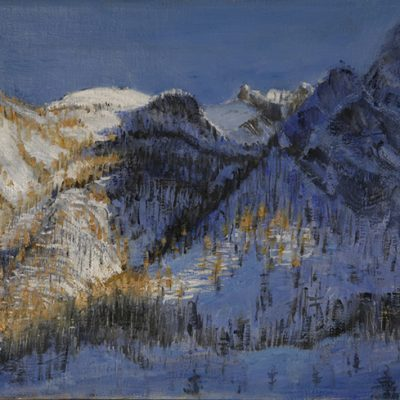 Sunlight on the Larches Viviere - oil on canvs 31 x 41 cm £600 framed