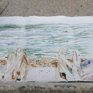 beesands surf Devon plein air watercolour southwest coast path