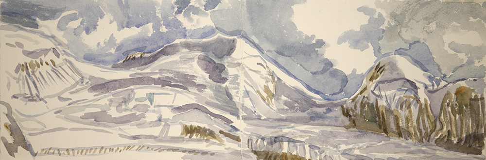 View to Castor from the Monte Rosa Hut Zermatt - 4000 meter peak, watercolour on paper 18 x 51 cm (7 x 21 inches) painted plein air. Carried paper and paints up on a glacier trek £250 unframed