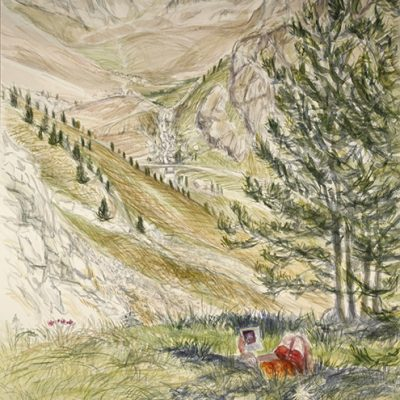 In the Shade the Italian Alps - watercolour on paper - 75 x 55 cm at Fosse Gallery in Stow on the Wold until August 31st