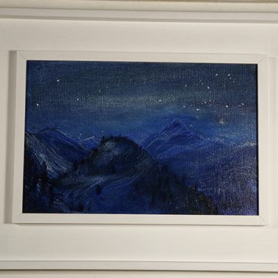 White wooden double frame around oil on canvas - Nocturne Mon Viso
