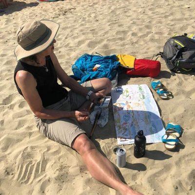 Painting on Lyme Regis beach in July 2021