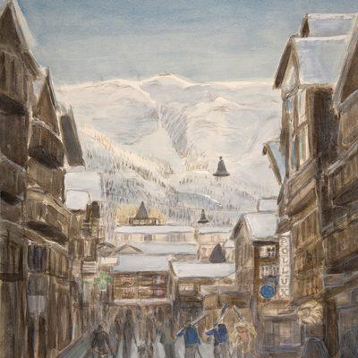 Gerwetsch Couloir Viewed from Bahnhofstrasse in Zermatt - watercolour on paper 55 x 48 cm (21.5 x 19 inches ) £475 unframed