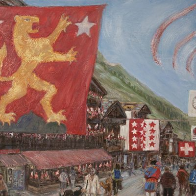national swiss day zermatt oil mountain painting
