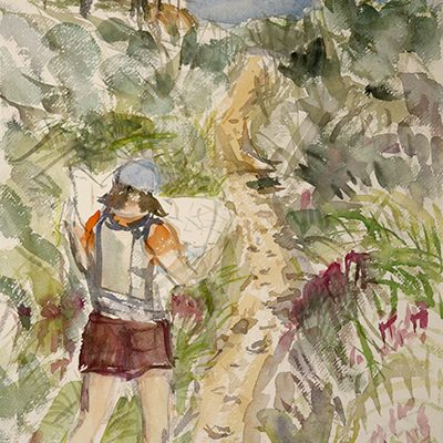 Reading the Map on Path to Budleigh Salterton in Devon, along the South West Coast Path - watercolor on paer 69 x 35 cm (27 x 14 inches) July 2021