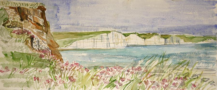 seven sisters hope cove watercolour plein air